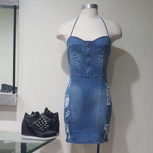 🔥Hot Item🔥 Distressed Stratchy Denim Dress!